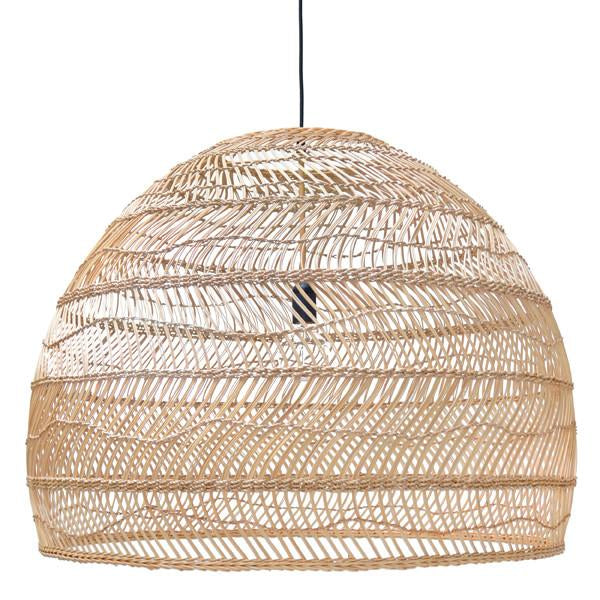 Hand woven xl wicker basket pendant light