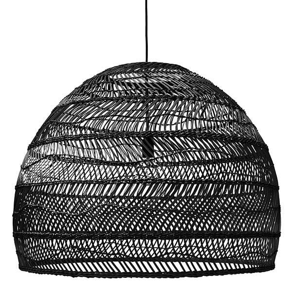 Large black hand woven pendant basket light