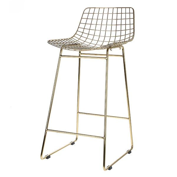 HK living brass metal wire bar stool