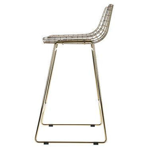 Side look of the metal brass wire bar stool by HK living