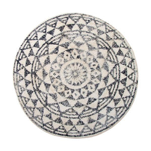 Big round black and white cotton bath mat