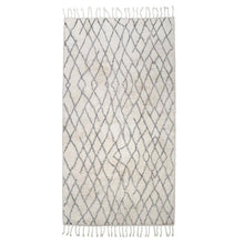 Very large black and white bath mat with fringes and diamond pattern