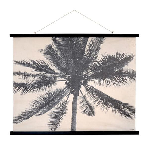 black and white cotton poster of palm tree with black wooden frame