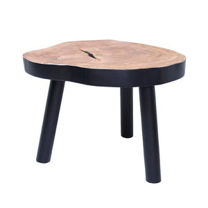 Accent table made of mango wood with black bottom and legs