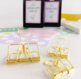 Set of 4 metal medium clips in gold