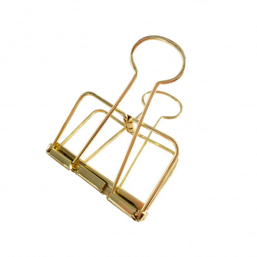 Set of 2 metal large clips in gold