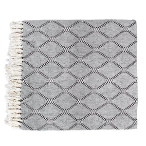 Black white and grey diamond pattern throw blanket