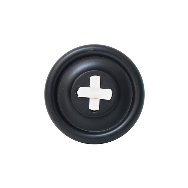 wall button hook black with white stitch