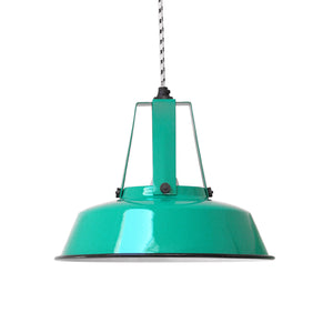 jade green metal work shop lamp