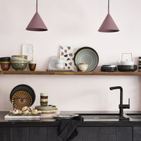 open shelving kitchen with HK living usa ceramics and maroon pendant lights