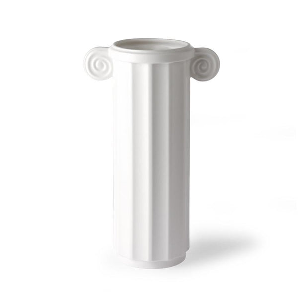 white ceramic vase in a greek column design