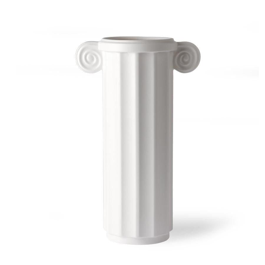 HK living USA white ceramic vase in a greek column design