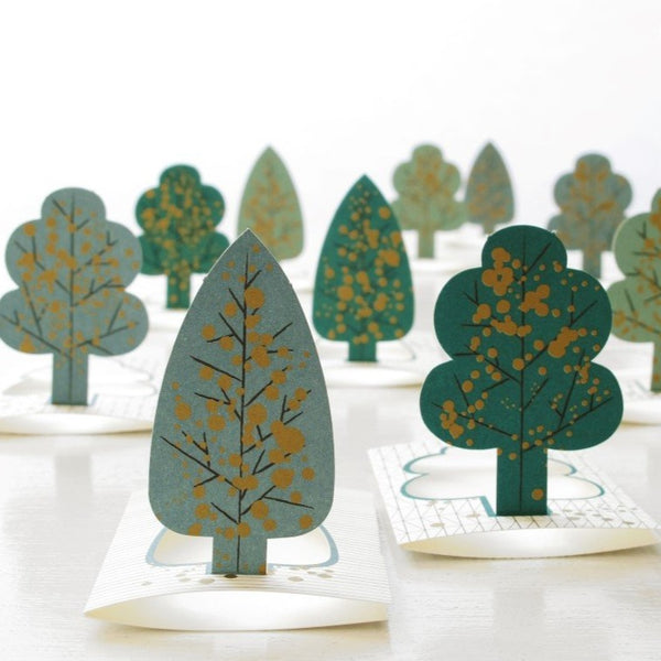 paper pop up cards in the shape of trees