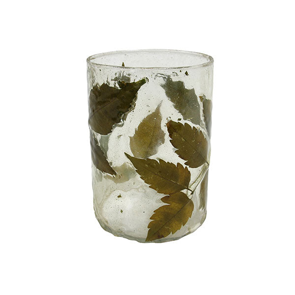 vintage looking candle light holder with leaves