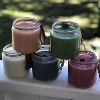 5 colors soy candles in glass jars
