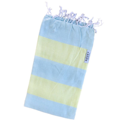 mint and lime stripe cotton towel with fringes