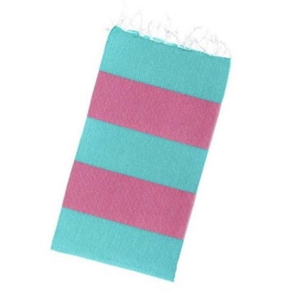 pink and green striped cotton towel with fringes