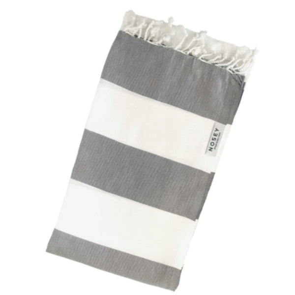 grey and white stripe cotton towel
