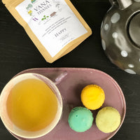 happy blend tea mix with macrons