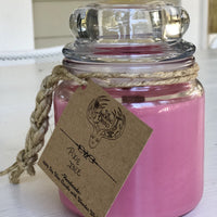 Pixie isle pink scented candle in glass jar
