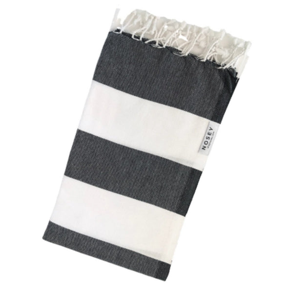 cotton nosey towel in black and white stripes