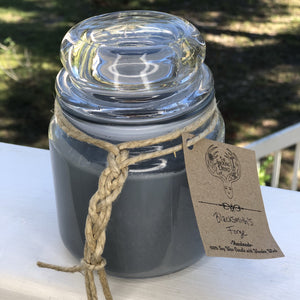 Soy candle with wooden wicker in a glass jar