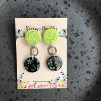 green black and flower pattern danglers