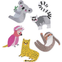 Animals iron on embroidered patch | set of 5