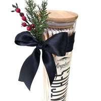 Christmas gift idea to wrap fireplace matches in a glasss jar with lid