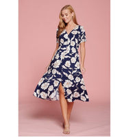 flairy summer dress in navy blue with flowers and buttons up front
