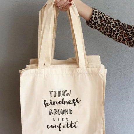 natural linen bag with handlettering