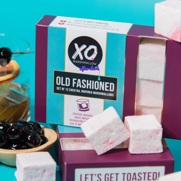 purple, blue and white packaging with marshmallows with the taste of classic cocktail