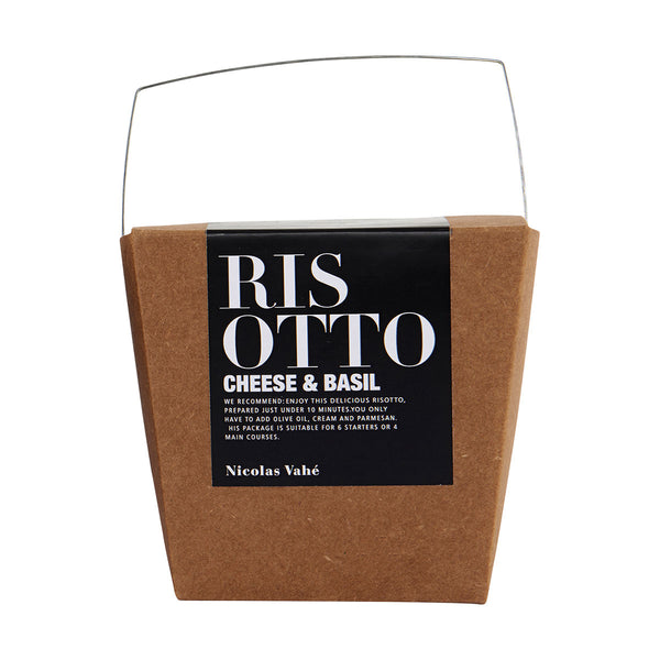 italian risotto in a take away box made of brown carton