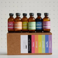 rainbow gift set baking extracts in glass bottles