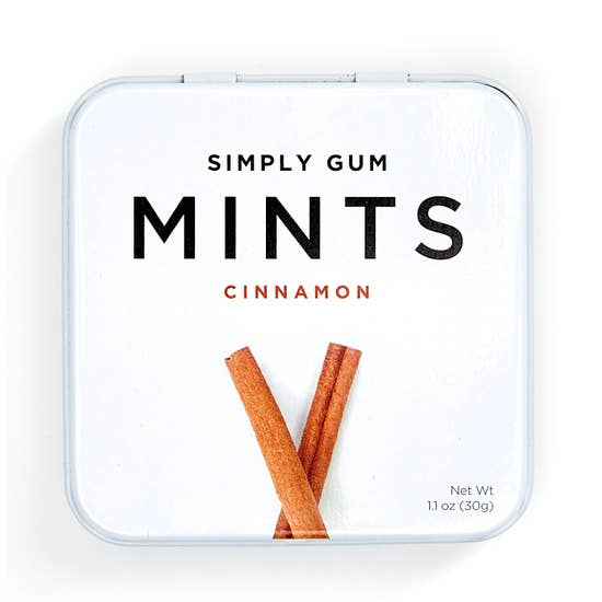 simply gum cinnamon mints in tin