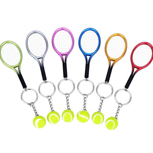 Key chain - tennis racket and ball