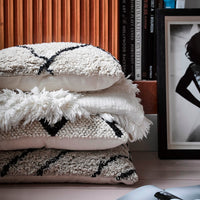 Shaggy black & white pillow