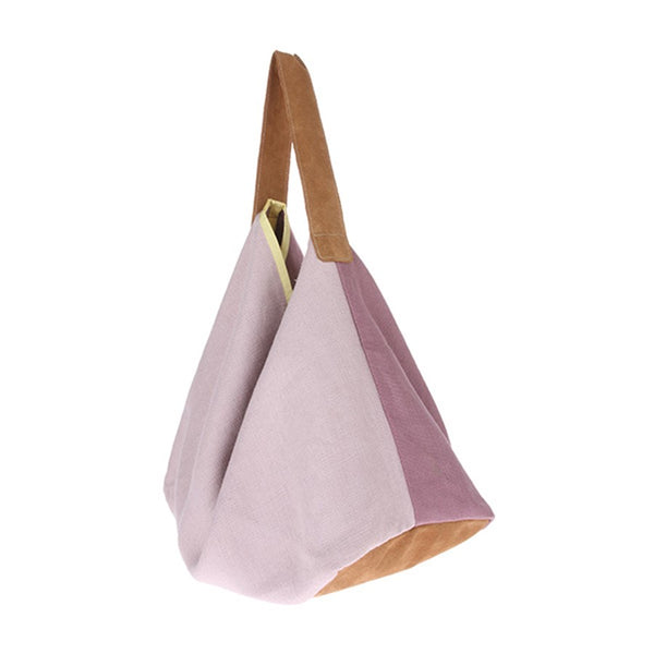 linen and suede bag in lilac and pink with yellow stripe
