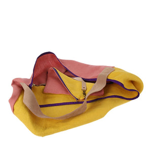 yellow and pink linen and suede bag