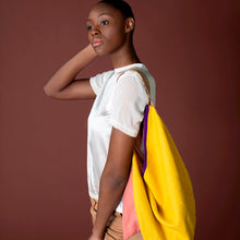 yellow and pink linen and suede bag with leather strap