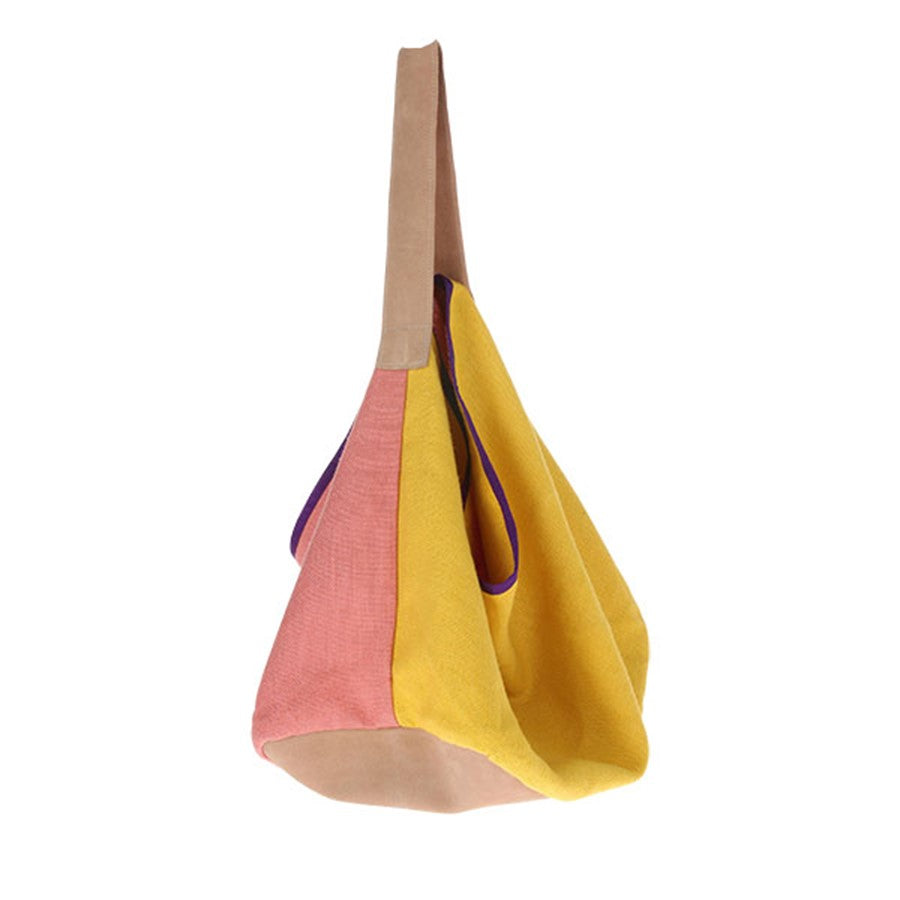 yellow and pink linen and suede bag by HK living USA