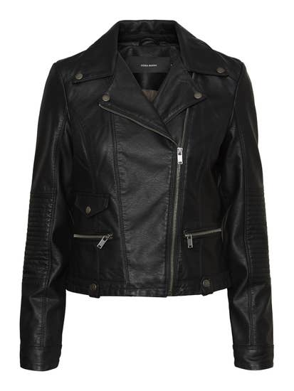 faux leather black biker jacket by VERO MODA