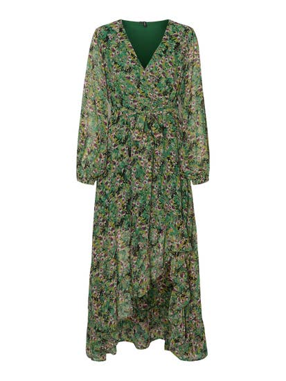 green printed long sleeve dress by vero moda