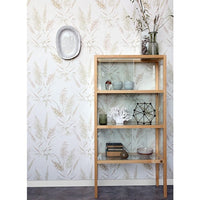 wall with vintage reed wallpaper by hkliving usa and showcase cabinet made of wood