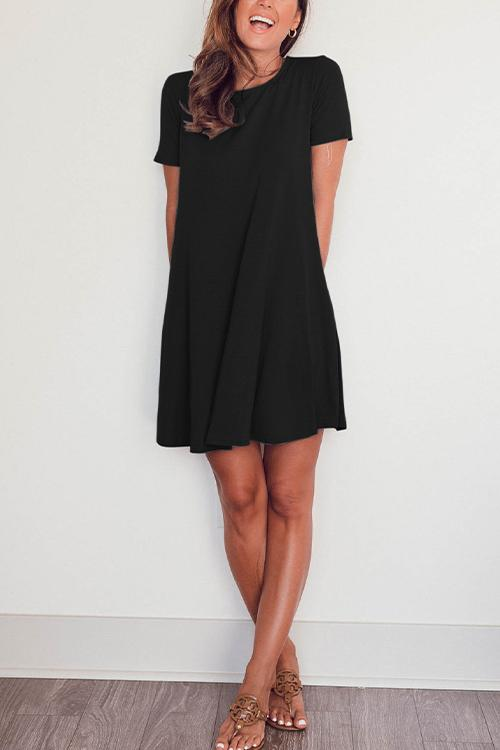 Meridress Short Sleeve Solid Color Flowy Dress with Pockets