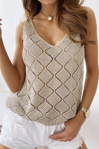 Meridress V Neck Hollow Out Tank Top