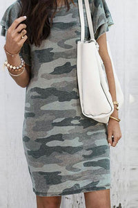 Meridress Bubble Sleeves Camo T-shirt Dress