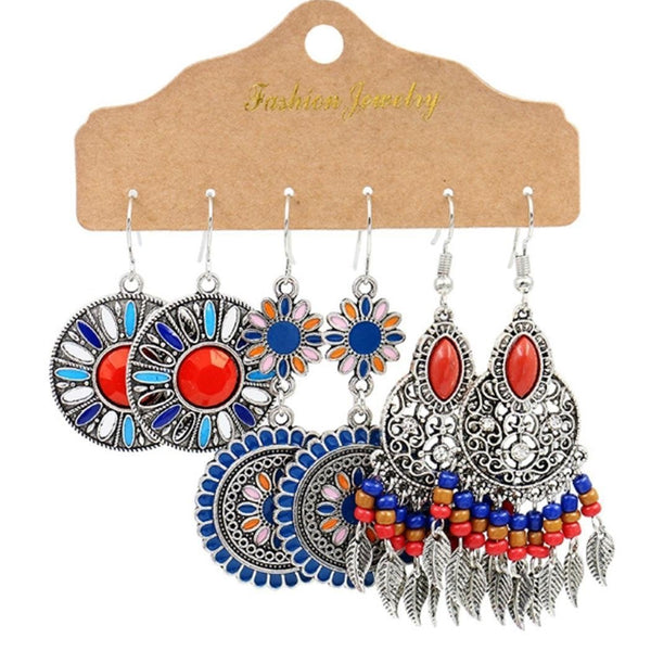 3 Pairs/pack Ethnic Style Geometric Tassel Dangle Earrings