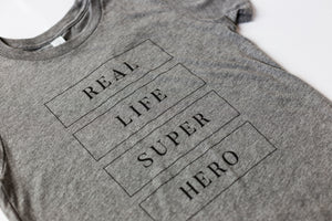 Real Life Superhero - Youth Shirt - Grey - Warrior Label Clothing