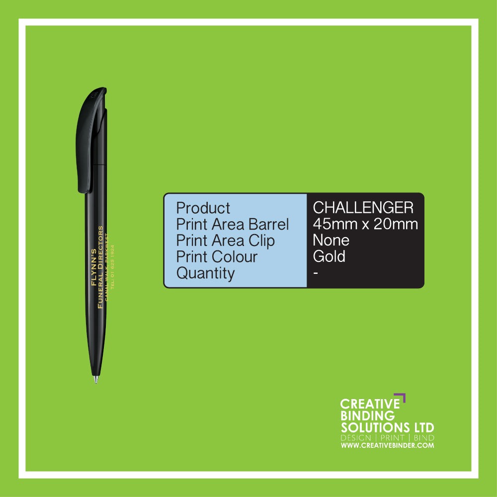 CHALLENGER POLISHED SCREEN PRINTED PENS